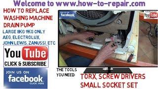 How to replace a washing machine pump on Aeg, Electrolux, John Lewis, Zanussi washer dryers