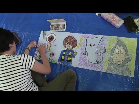 種子島の学校活動:油久小学校親子で六月燈灯籠の絵描き2019年