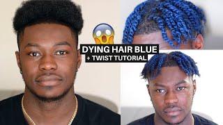 Twists On Mens Short Natural Hair! + LOreal Colorista Blue Temporary Hair Dye!