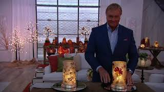 "10"" Illuminated Frosted Hurricane with Harvest Design by Valerie on QVC"
