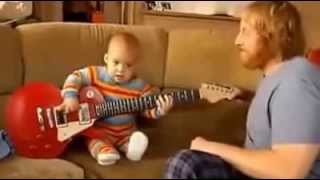 twin babies laughing at dad playing guitar - Free Online