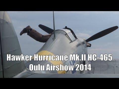 Hawker Hurricane Mk.II HC-465 WW2 Fighter at Oulu Airshow 2014