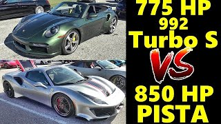 PORSCHE vs FERRARI !! 850 HP  PISTA vs 775 HP 992 TURBO S - Drag Race - Who WINS? BATTLE OF THE CABS by Road Test TV