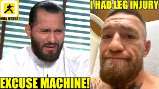 Jorge Masvidal reacts to Conor McGregor saying he fought Dustin Poirier with a DAMAGED LEG,Khabib