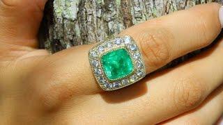 Koleksi Rare Piece Asli Colombia Emerald & 14k Cocktail Ring White Diamond Wanita! 11.34tcw
