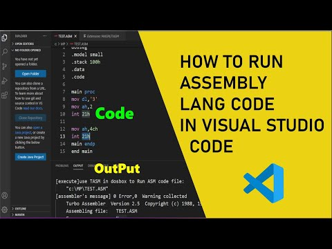 How To Run Assembly Language Code In Visual Studio Code || IDE For Assembly Language 2021