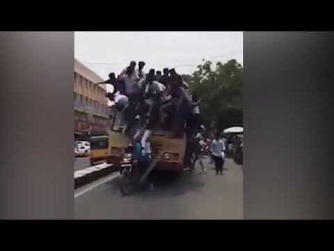 Startling video of Chennai college students falling off roof of moving bus