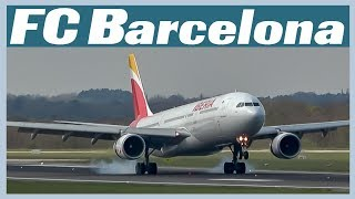 FC Barcelona arrive at Manchester Airport onboard an Iberia A330