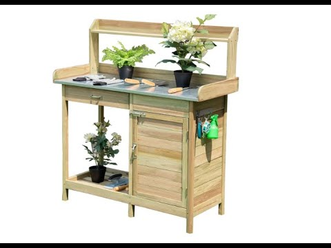 Giantex Potting Bench Table for Outside Natural Wood Garden Plant Lawn Patio Table Storage- Overview