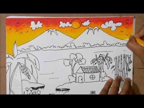 Mewarnai Pemandangan Sawah Gunung Warna Gradasi Crayon Part2