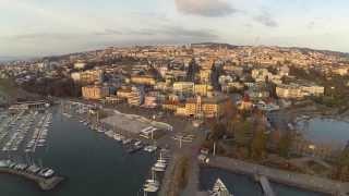 DJI Phantom Eye-View Of Lausanne Port And Mountain