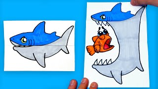 How To Draw a Shark (Folding Surprise Card) - AMAZING PAPER CRAFT and DOODLES for KIDS