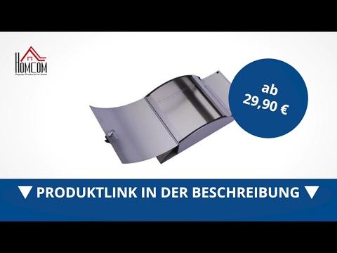 Homcom Designer Briefkasten aus Edelstahl mit Zeitungsrolle - direkt kaufen!