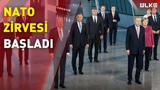 Erdoğan ve diğer liderler, NATO Zirvesi'nde ''aile fotoğrafı'' çekimine katıldı