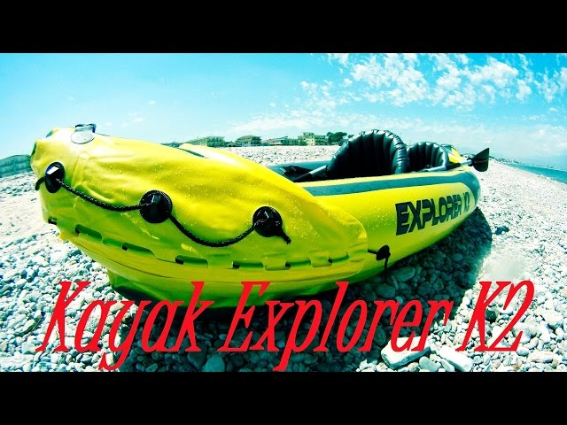 Kayak Explorer K2 Intex Unboxing and test, Canoa gonfiabile inflatable canoe (Triboard accessories)