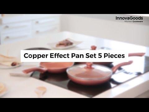 InnovaGoods Copper-Effect 3 db Serpenyő és 2 fedő