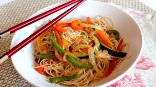 Wok de fideos de arroz chinos con verduras salteadas | Noodles veganos) 🍜🇨🇳