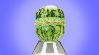 363 Schichten Gummibänder + 1 Wassermelone!