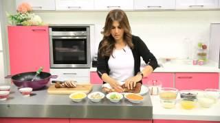 اللحم الروستو - بطاطس بيورية - تشيز كيك البلوبيرى   زعفران وفانيلا حلقة كاملة