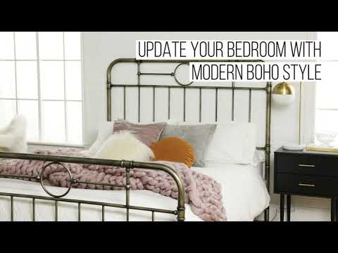 Video for Queen Size Bronze Metal Pipe Bed
