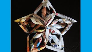 Christmas Crafts- 3D Paper Snowflakes - Christmas Star Tree Topper (Easy Paper Decoration)