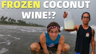 BecomingFilipino – FROZEN COCONUT WINE? Rainy Philippines Beach Day Cooking (Davao, Mindanao)