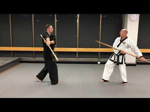 <h3>AHA Second Dan Black Belt Pole (Jangbon) 1-step sparring</h3>