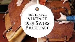 Vintage 1945 Swiss Leather Briefcase Review - Full Of Patina (Veg. Tanned Leather)
