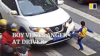 Boy vents anger at driver