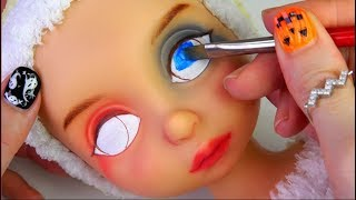 ★할리퀸 리페인팅 디즈니베이비돌 라푼젤★Harley Quinn Repainting Disney Baby Doll Rapunzel/Halloween