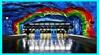 Красивое и Необычное Метро Стокгольма. Интересные Метрополитены по Всему Свету