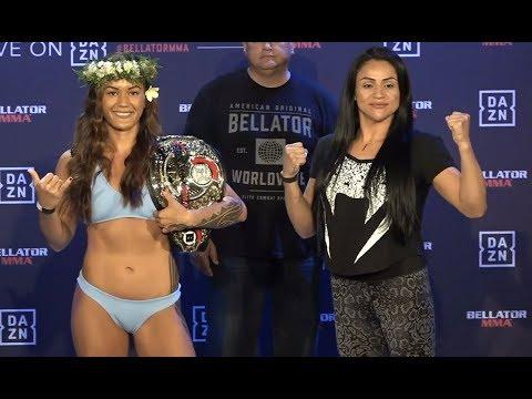 Ilima-Lei Macfarlane vs. Veta Arteaga - Weigh-in Face-Off - (Bellator 220: MacDonald vs. Fitch)