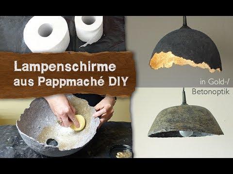Pappmache Lampenschirme in Gold-/Betonoptik selber machen - DIY