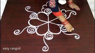 simle & easy beginners friday kolam rangoli * latest muggulu designs with 5 dots