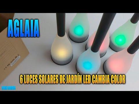 Aglaia - 6 Luces solares de jardín LED cambia color