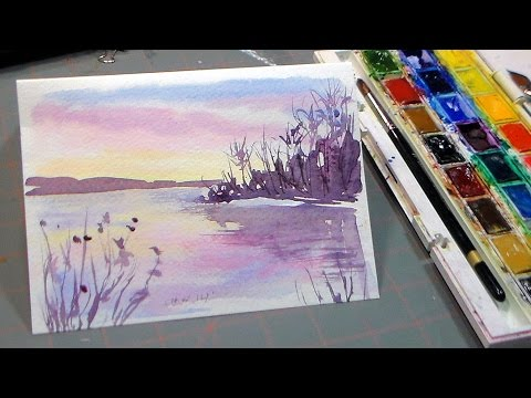 Easy Watercolor Sunset