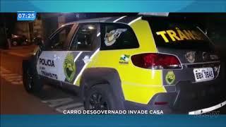 Carro desgovernado invade casa em Cascavel