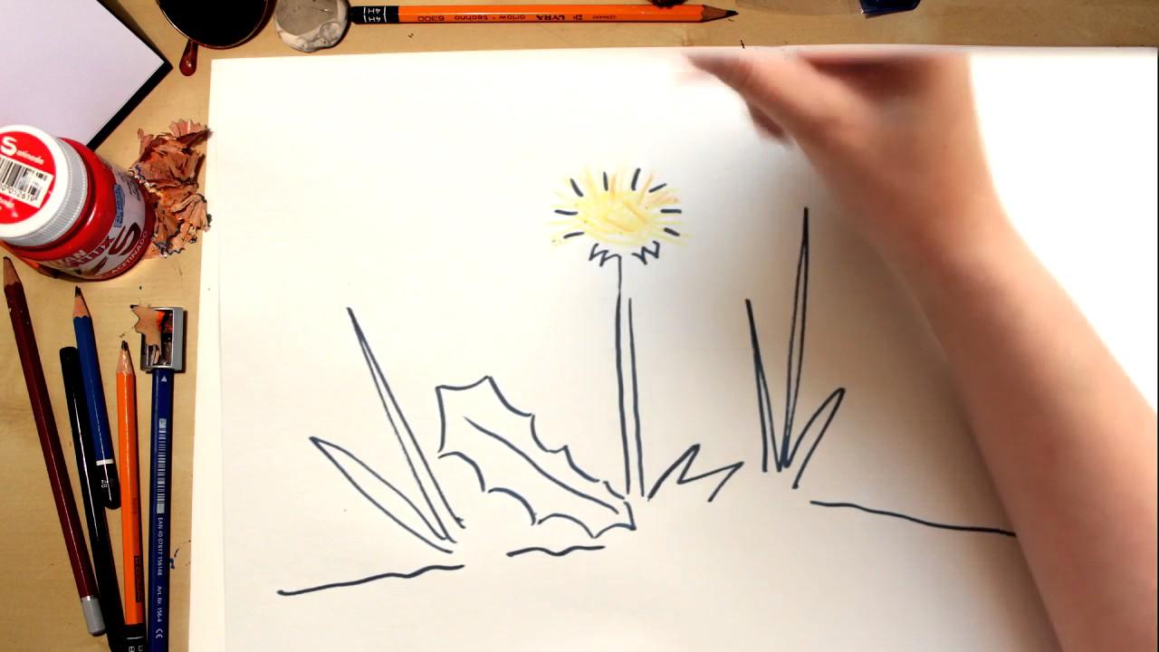 Como dibujar una flor Diente de León fácil! (comentado)