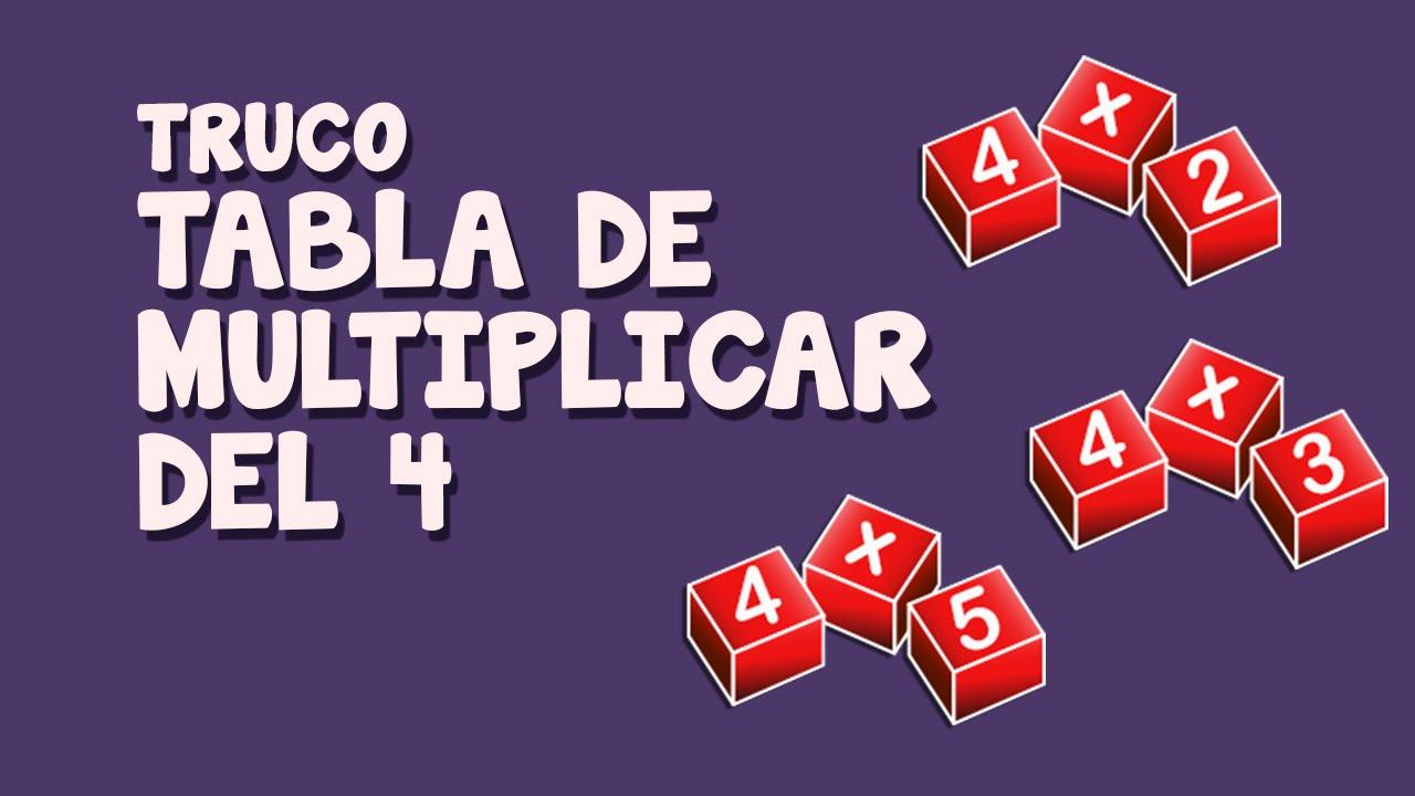 Truco tabla multiplicar del 4 cuatro