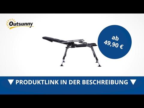Outsunny Anglerstuhl mit Armlehnen Karpfenstuhl schwarz - direkt kaufen!
