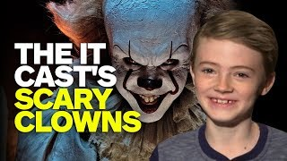 The Cast of IT Draw Their Scariest Clowns   Kholo.pk