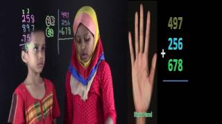 3 by 3 by 3 digits addition Counting by Hand line
