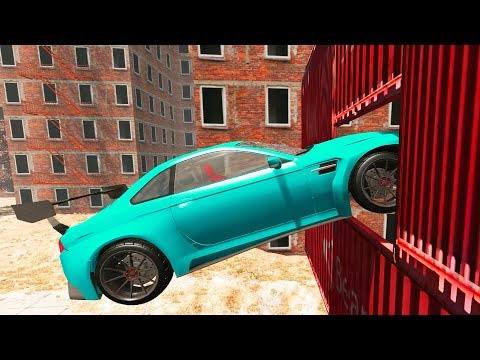 BeamNG.Drive - Narrow Hole Crashes (Beamng Drive Car Stunts)