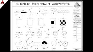 ✅ Lesson 01: Practice drawing AutoCAD 2D exercises from basic to advanced // Learn to draw basic AutoCAD