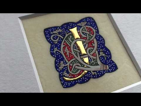 Gilding and painting a capital letter for an illuminated manuscript on calfskin vellum [6:39]