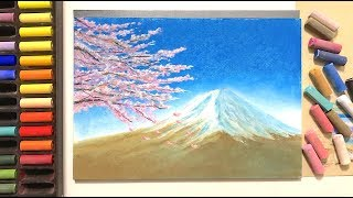 富士山の描き方withソフトパステル / How To Draw Mount Fuji With Soft Pastels