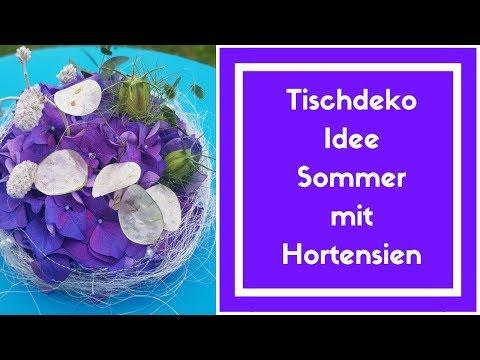 Tischdeko Idee Sommer - Hortensien Deko zum selber machen - DIY - Floristik Anleitung