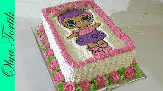 Кремовый Торт КУКЛА ЛОЛ Как украсить торт кремом Розы из крема ///Olya Tortik