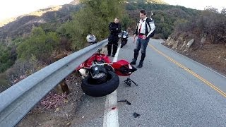 Ducati 1199s Panigale & CBR600RR Lowside On The Snake   Johnny5sWorld