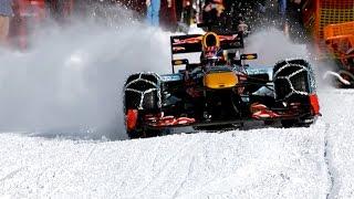 F1マシンがスキーコースを疾走